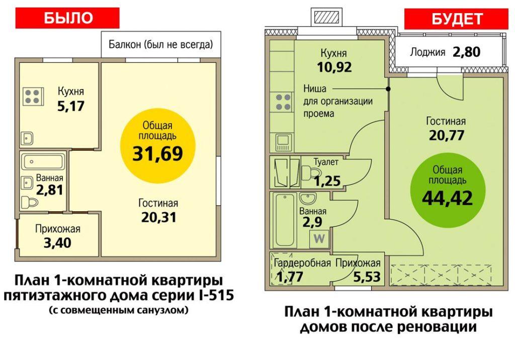 Пример планировки однокомнатной квартиры по программе реновации