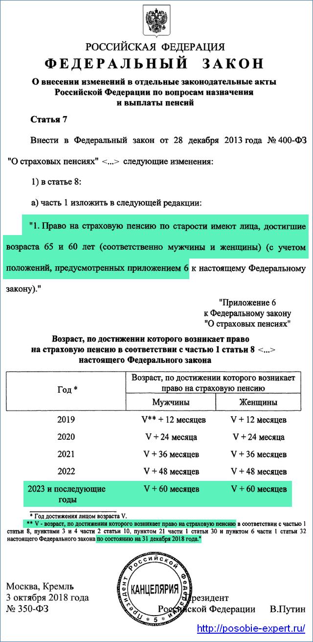 Закон об увеличении пенсионного возраста с 2019 года