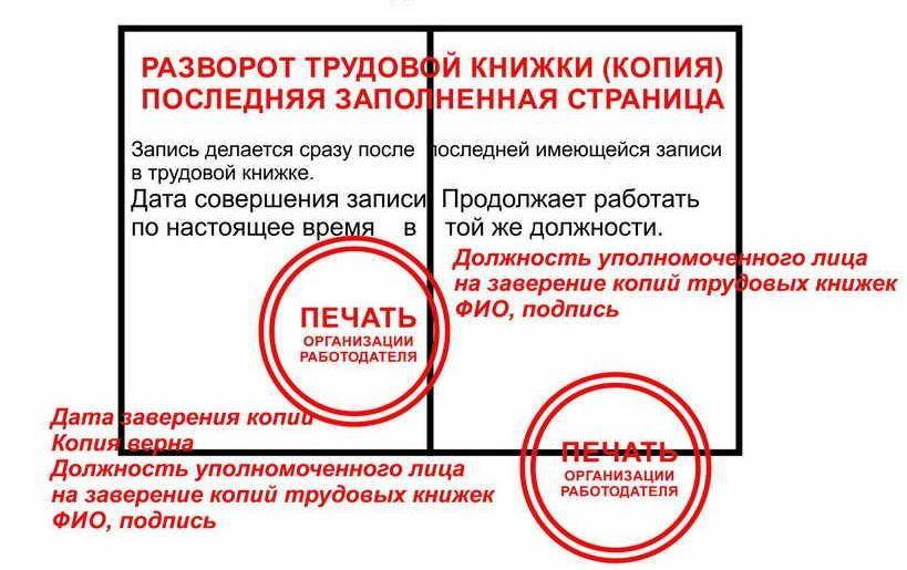 Правила заверения копии трудовой